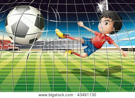 Illustration of a boy kicking the ball at the soccer field