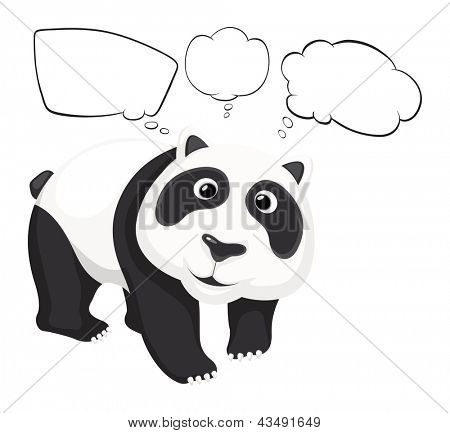 Illustration of a giant panda with empty callouts on a white background