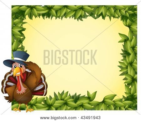 Illustration of a leafy frame with a turkey on a white background
