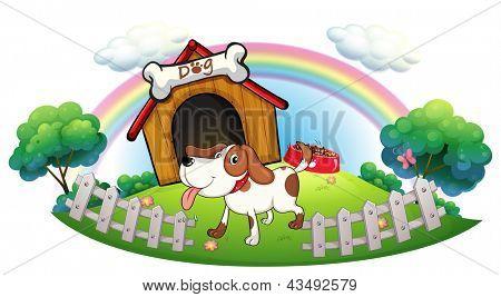 Ilustração de uma casinha de cachorro dentro da cerca com um filhote de cachorro em um fundo branco