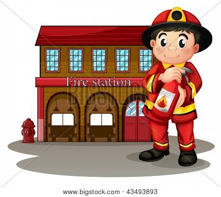 Illustration of a fireman in front of a fire station holding a fire extinguisher on a white background