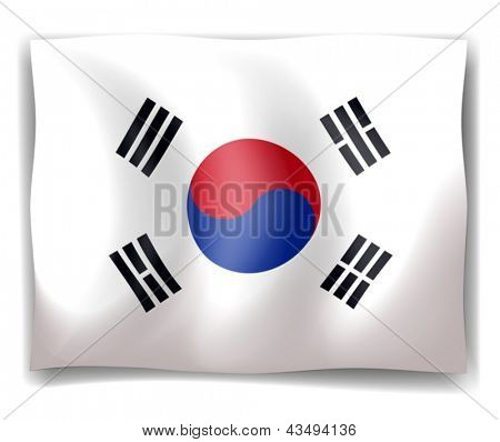 Illustration of the flag of South Korea on a white background