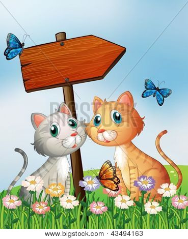 Illustration of two cats in front of an empty wooden arrow board