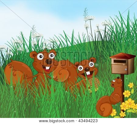 Illustration of the three squirrels with a wooden mailbox