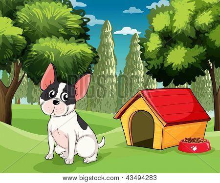 Ilustração de um cão perto de uma casinha de cachorro com uma ração para cachorro