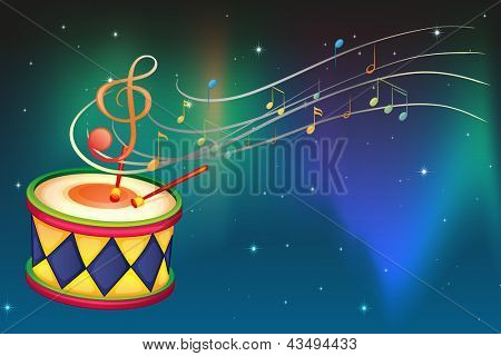 Illustration of a drum and the musical notes and symbol