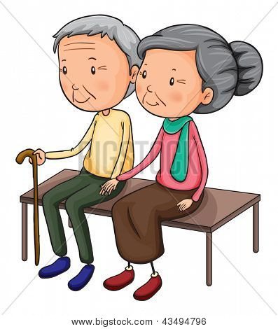 Illustration of an old couple on a white background