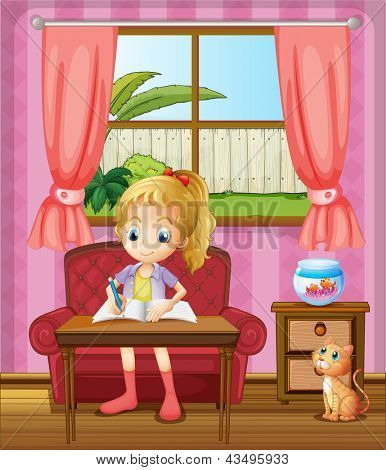 Illustration of a girl writing inside the house with a cat