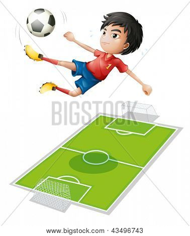 Illustration of a boy kicking the ball on a white background