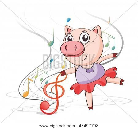 Illustration of a pig dancing with musical notes on a white background