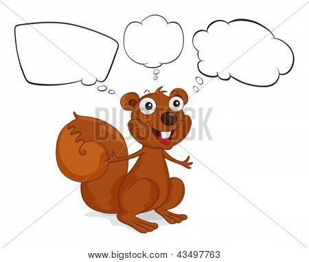 Illustration of a brown squirrel with empty callouts on a white background