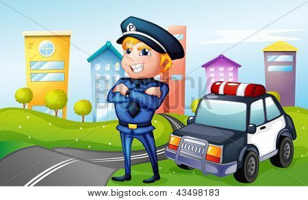 Illustration of a smiling policeman at the road