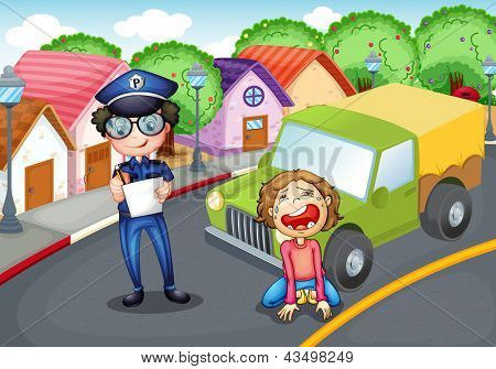 Illustration of the policeman and the crying driver
