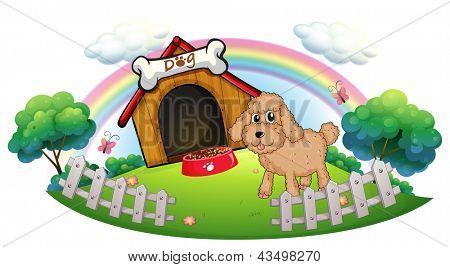 Ilustração de um cachorro perto de uma casinha de madeira com osso em um fundo branco