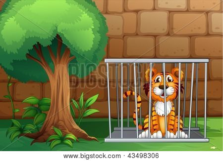 Illustration of a tiger inside the animal cage
