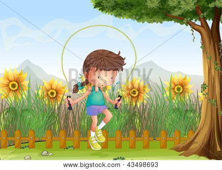 Illustration of a girl playing jumping rope