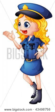 Illustration of a policewoman on a white background