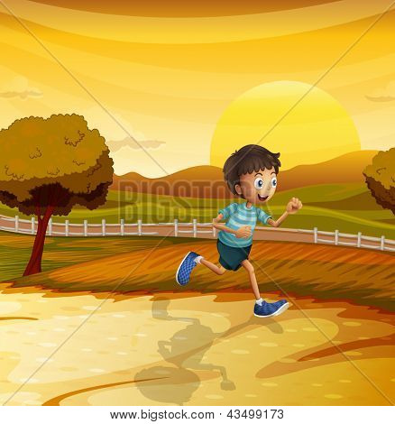 Illustration of a view of the afternoon with a young boy running