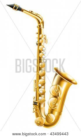 Illustration of a gold saxophone on a white background