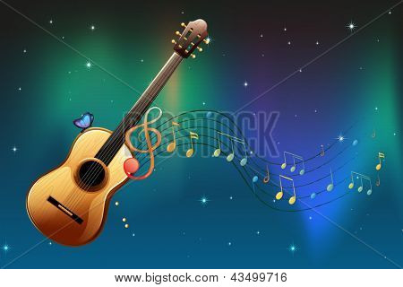 Illustration of a brown guitar with a butterfly and musical notes