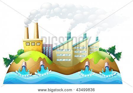 Illustration of a city with factories on a white background