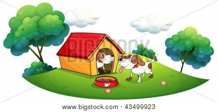 Illustration of the two puppies with a doghouse on a white background