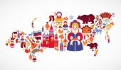 picture of national costume  - Russia map with vector icons - JPG