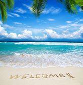 Постер, плакат: Добро пожаловать написанные на песчаном тропический пляж