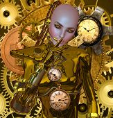 foto of steampunk  - A vintage steampunk robot that keeps the secrets of powerful scientists  - JPG
