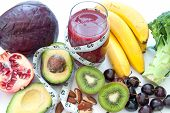 stock photo of fruits  - Fruits and vegetables with high nutritional value and a smoothie beverage - JPG