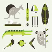 stock photo of oz  - Vector set of various stylized australia icons - JPG
