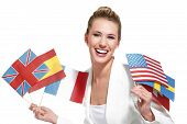 picture of citizenship  - beautiful woman showing international flags on white - JPG
