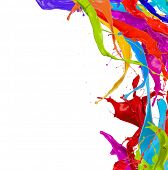 pic of paint spray  - Colored paint splashes isolated on white background - JPG