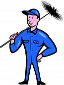 stock photo of sweeper  - Illustration of a chimney sweeper cleaner worker with sweep broom viewed from front done in cartoon style - JPG