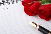 pic of valentines day card  - Red roses fountain pen and calendar page - JPG