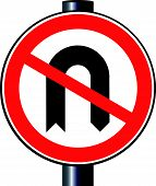 No U Turn Traffic Sign