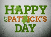stock photo of st patty  - Bold st patricks day message with shamrocks on vignette wall style background - JPG
