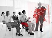 Business people clapping stakeholder standing in front of red map futuristic interface in black and