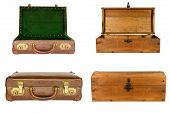 collage of suitcases and chests isolated