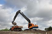 picture of dumper  - a Track excavator machine loading dumper truck with soil in front of a cloudy sky - JPG