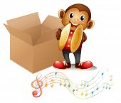 Illustration of a monkey with cymbals beside a box with musical notes on a white background