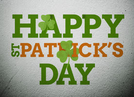 pic of st patty  - Bold st patricks day message with shamrocks on vignette wall style background - JPG