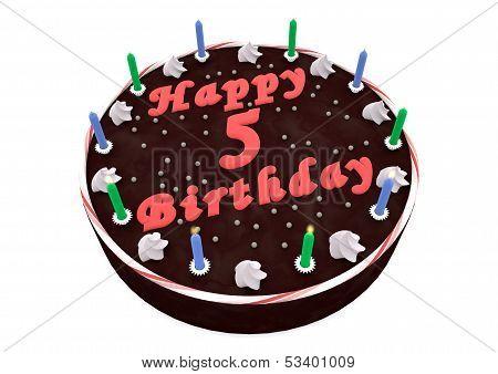 Chocolate Cake For 5Th Birthday