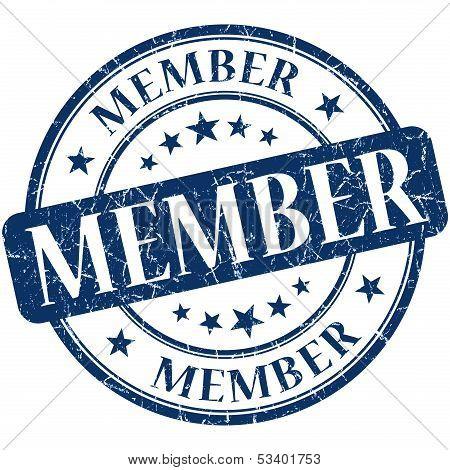 Member Grunge Blue Round Stamp