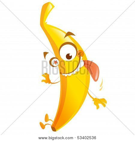 Crazy Cartoon Yellow Banana Fruit Character Go Bananas