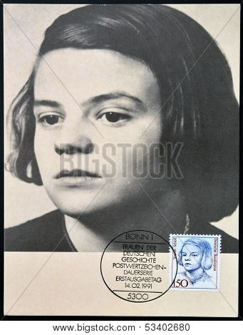 GERMANY - CIRCA 1991: A stamp printed in Germany shows Sophie Scholl circa 1991