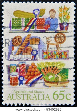 AUSTRALIA - CIRCA 1987: A stamp printed in Australia shows farm products Agricultural Shows series