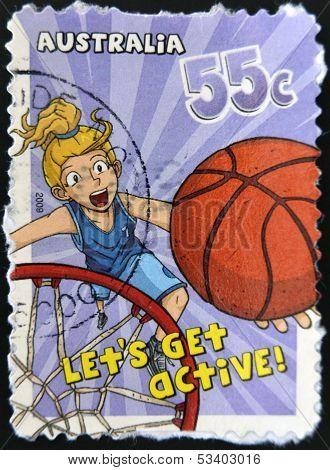 AUSTRALIA - CIRCA 2009: A stamp printed in Australia shows Basketball