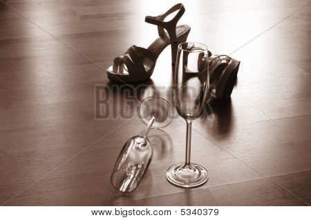 Sexy High Heel And Champagne Glass