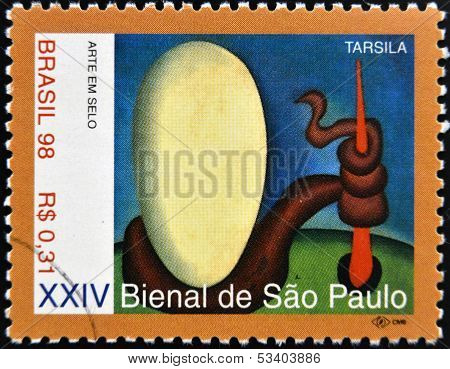stamp printed in Brazil dedicated to Sao Paulo Biennial shows Urutu by Tarsila do Amaral